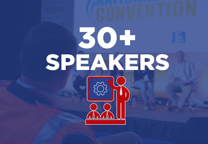 30+ speakers